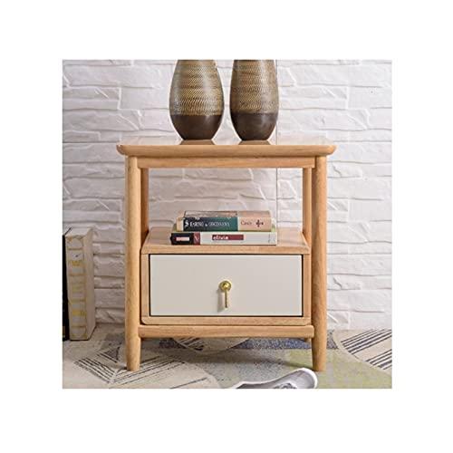 Mesilla de noche Tablingstandstandstand de la cama de madera, mesa auxiliar de mesa de 2 niveles con cajón, organizador de almacenamiento y estante abierto para dormitorio Mesa final ( Color : D )