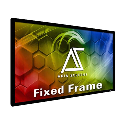 """Akia Screens 100 inch Fixed Frame Projector Screen Wall Mount 16:9 8K 4K Ultra HD 3D Ready CINEWHITE UHD-B Black 100"""" Projection Screen for Indoor Movie Video Home Theater Cinema Office AK-FF100WH2"""