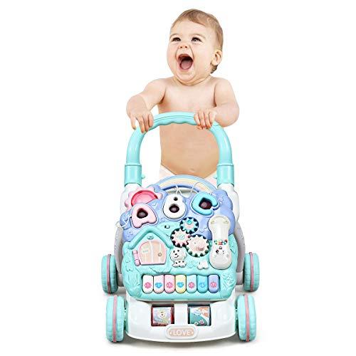 Goplus Girello2-in-1 per Bambini multifuctionale e Antiscivolo, Trolley Bambino Sit-to-Stand, Primi Passi Musicale per Bambini, Centro Musicale per Bambini, 33,5 x 48 x 50,5 cm, colorato