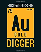 Notebook: gold au periodic table elements - 50 sheets, 100 pages - 8 x 10 inches