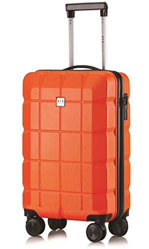 ATX Luggage 21' Super Lightweight Durable Hard Shell Carry On Cabin Hand Luggage Suitcases Travel Bag with 8 Wheels & Built-in Lock for Ryanair, EasyJet, BA, Jet2 (21' Carry-on, Orange)