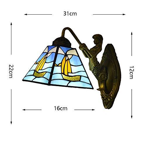 GOG Schöne und großzügige Wandleuchte Europäische Tiffany-Stil Meerjungfrau-Wandleuchte Mediterrane Farbe Glas Lampenschirm Einfache Kinder \'S Wohnzimmer Schlafzimmer Bedside Study Porch Villa Fixtur