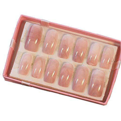 LIARTY 24 Stück Glatte Marmor Gefälschte Nägel Full Deckung Langes Quadrat Falsche Nägel Mit Kleber Aufkleber