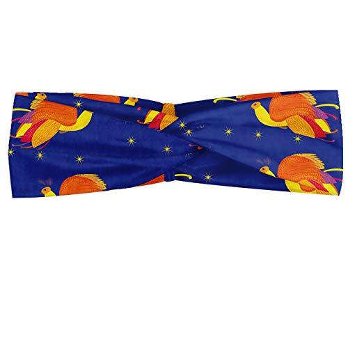 ABAKUHAUS Feniks Hoofdband, Vogels in de kleuren Starry Night Sky, Elastische en Zachte Bandana voor Dames, voor Sport en Dagelijks Gebruik, Violet Blue Vermilion