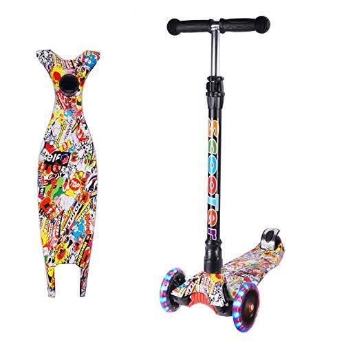 Yuanj Scooter Kinder Roller, Dreiradscooter für Mädchen und Jungen, Höhenverstellbarer und Abnehmbarer Kinderscooter, mit PU Räder/Graffiti Kinder Scooter (Rot + schwarz, 3-13 Years Old)