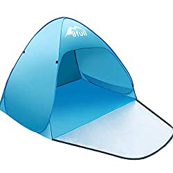 """55"""" x 43"""" Footprint; 43"""" Height; Suitble for 1 or 2 person. 2.5 lbs Weight. SPF 50 UV Protection for you and your family. And this sun tent is watertight. It is an automatic pop up tent, eary to set up within 2 seconds; no assembling required. This U..."""