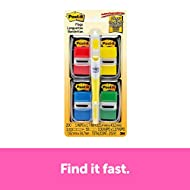 Post-it Flags Value Pack with Free Flag + Highlighter, Assorted Primary Colors, 1 in Wide, 50 tabs per Dispenser, 4-Dispensers (680-RYBGVA)