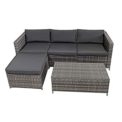 SUNVIVI OUTDOOR 5 Piece Patio Furniture Sets, All Weather Grey PE Wicker Furniture Set, Patio Sectional Conversation Sofa Set with Coffee Table, Removable Cushions (Grey-Grey)
