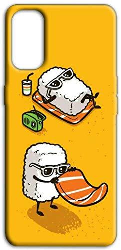 Mixroom - Cover Custodia Back Case in TPU Silicone Morbida per Samsung Galaxy A32 4G (Non per A32 5G) Fantasia Coppia di Sushi in Spiaggia M594