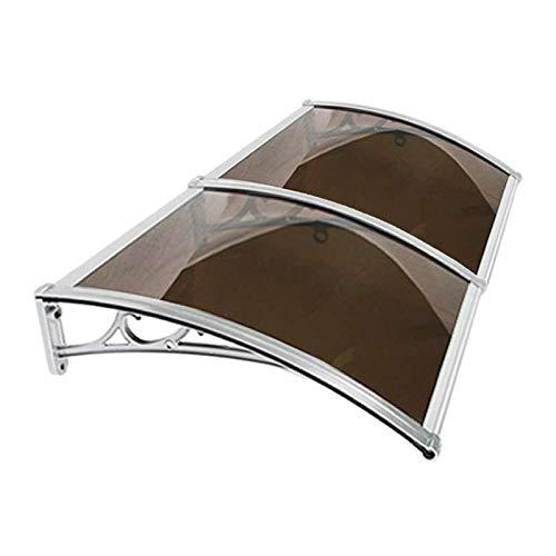 Door Canopy, Toldo exterior de 60/80 cm de profundidad de arco autolimpiable, toldo exterior de patio, resistente al agua (color: marrón, tamaño: 60 x 240 cm)