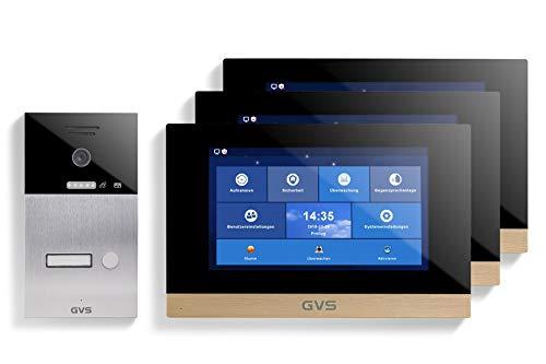 GVS AVS1077U - Videoportero IP de 4 cables, estación de puerta empotrada IP65, monitor de 3 x 10 pulgadas, App, cámara HD de 120 °, función de apertura de puerta, 32 GB de memoria, conmutador PoE, 1 juego de casa familiar