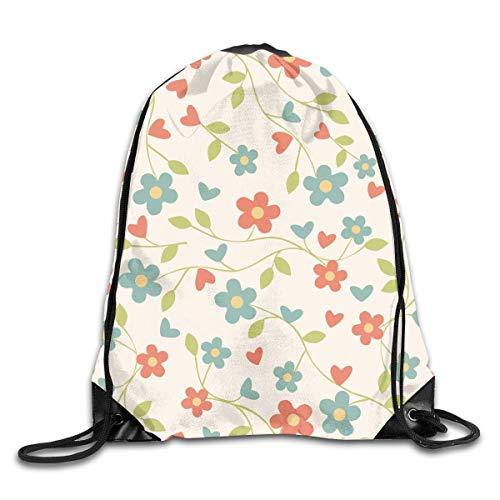 Lawenp Plegable Flower Drawstring Backpack Bag Shoulder Bags Gym Bag for Adult