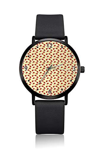 Ladybug Whirlpool Background - Reloj de pulsera para mujer, ultra fino, extremadamente simple, analógico, ultra delgado, movimiento de cuarzo japonés