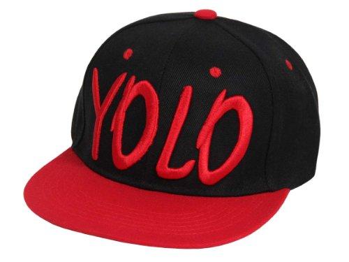 Alsino Snapback Basecap Yolo (You Only Live Once) Hat Hip Hop Cap Schirmmütze Baseballcap Baseball Mütze Kappe (Cap-13YOLO schwarz rot)