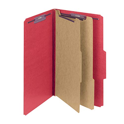 """Smead Pressboard Classification File Folder with SafeSHIELD Fasteners, 2 Dividers, 2"""" Expansion, Legal Size, Bright Red, 10 per Box (19031)"""