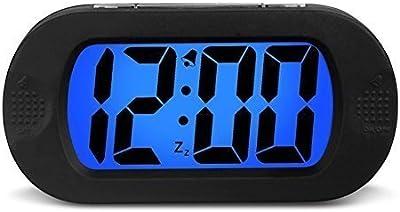 AOI Despertador Digital inal/ámbrico con bater/ía con Fecha luz de Sensor Inteligente 5.31 x 2.95 x 1.77 Pulgadas repetici/ón para dormitorios Blanco Oficina Temperatura 12 // 24Hr