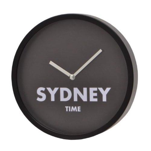 More Design CAPITAL-D20 Horloge Rond Noir avec Inscription Sydney