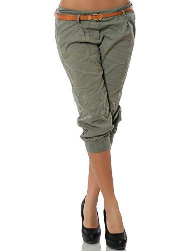 Damen Chino Capri Hose Kurze Sommer Stoffhose inkl. Gürtel DA 13235 Größe S / 36 Farbe Khaki