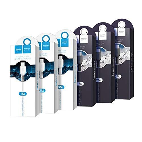 Hoco. - Fast Charge type C USB-kabel (3 meter) Android oplaadkabel en datakabel voor Micro USB-apparaten zoals Samsung Galaxy, Huawei, Sony, powerbank enz. - Wit