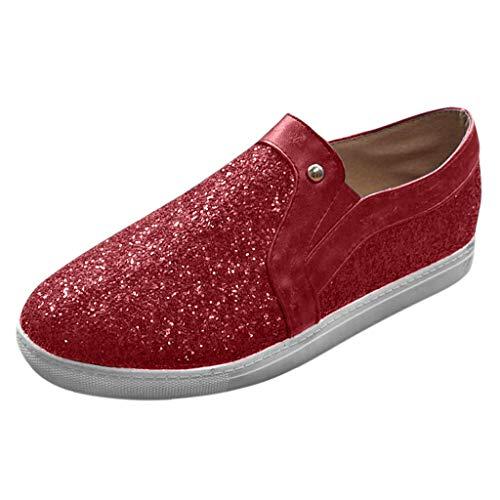 Inawayls Damen Paillette Atmungsaktiv Walking Schuhe Outdoor Sneakers Freizeit Leichte Laufschuhe Sportshuhe