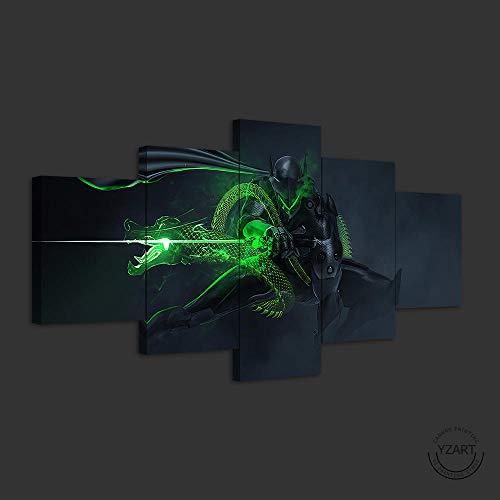 VENDISART,Leinwanddrucke,Modulare Wandkunst Wandaufkleber,5 Teiliges Wandbild,Genji Ultron Overwatch-Spiele,Mit Rahmen,Größe:M/B=150Cm,H=80Cm