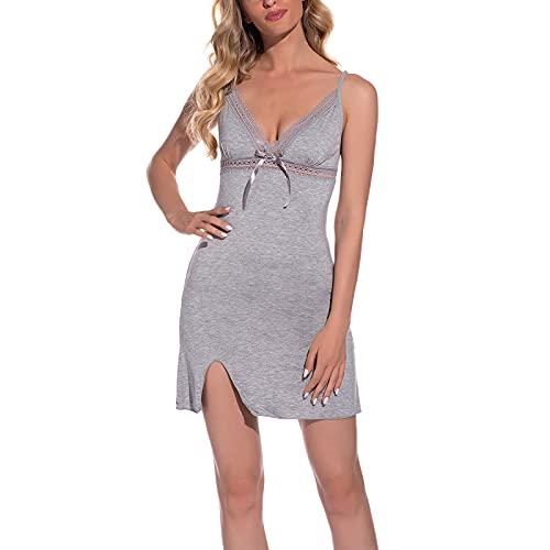 Women Nightdress V-Neck Spaghetti Strap Dress Nightgown Satin Babydoll Nightwear Silk Slip Dress (Light Gray, X-Large)