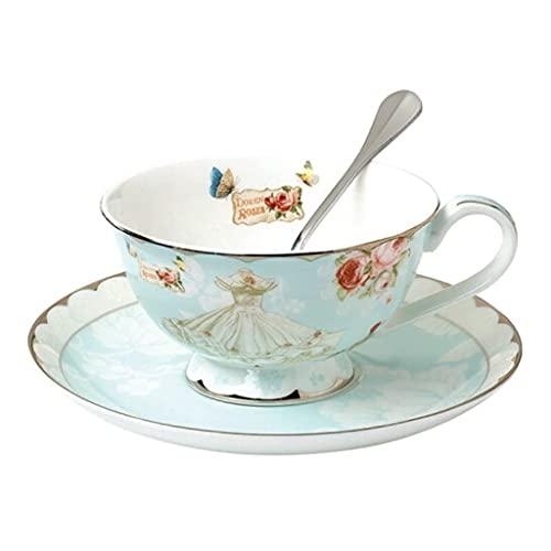 DZX Combo Europeo de Taza y platillos de Porcelana de Hueso, 7.7 oz / 220 ml, té de la Tarde con Leche Retro Creativo con Cuchara para Oficina y hogar, diseño de P