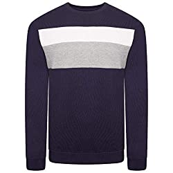Mens Colour Block Stripe Long Sleeve Crew Neck Sweatshirt Ribbed contrast crew neck, hem and cuffs for shape retention 60% Cotton 40% Polyester – Machine Washable Soft touch, unlined, brushed fabric for superior Comfort & Look Occasion: Perfect for d...