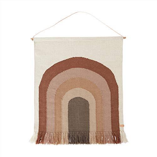 OYOY Mini - Wandteppich Follow The Rainbow Wall Rug Wanddeko für das Kinderzimmer Braun/Rottöne Braun - 124x100 cm, Wolle-Baumwolle