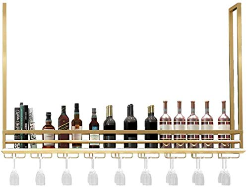 YLongFEI Wine Rack Storage Rack Bar teller decoratie Goblet houder Plafond opknoping Industriële wijnkast Plank Glas laminaat Meerdere maten
