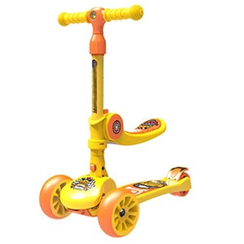 Perfect Kids Scooters - Patinete plegable de pato amarillo para niños de 3 a 12 años con altura ajustable, inclinado para dirigir, ruedas LED ampliadas para niños (color: amarillo)