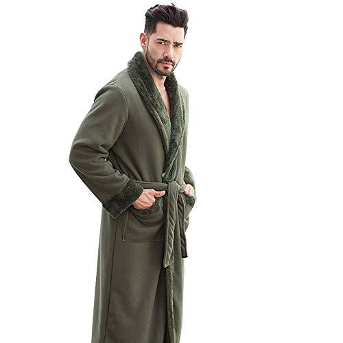 GNLIAN HUAHUA Homewear Los Hombres del Invierno Coralino del Traje del Terciopelo Albornoz Pijamas par de Gran tamaño Resorte Y los Hombres del otoño Invierno Engrosamiento Plus, L Vendaje