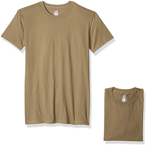 Soffe Men's 3 Pack - 100% Cotton Military Tee, Tan, Large