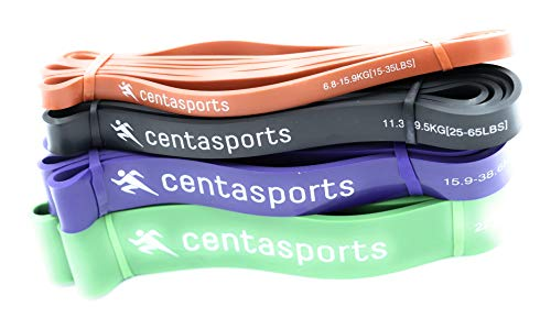 centasports Pull Up Assistance Bands Set of 4 Resistance Bands with Carrying Bag