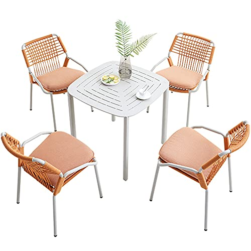 Outdoor Patio Furniture Sets, 5-Piece All-Weather Braided Rope Conversation Chair and Coffee Table Sets Home Garden Leisure Dining Combination Chair