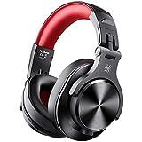 OneOdio FUSION A7 Auricurales Circumaurales Inalámbricos de Cable 3.5mm, Diadema Cerrado 90°Ajustable Auricurales Plegables Bluetooth con Micrófono de 40mm y Sonido Profesional de DJ (Rojo)
