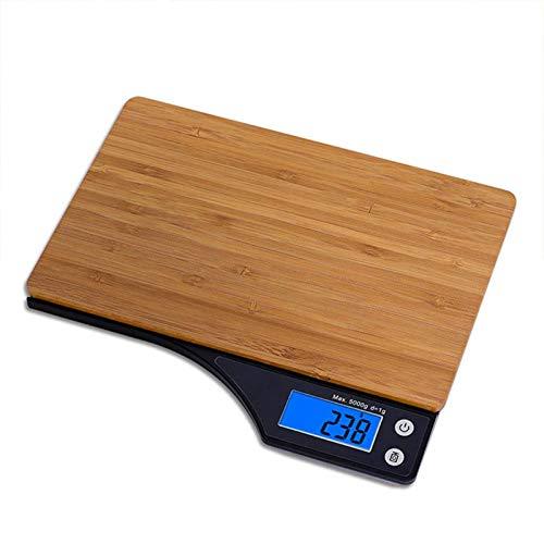 Basage - Bilancia digitale per alimenti, piattaforma in bambù naturale, funzione TARE e capacità di 5 kg per bilancia da cucina digitale, grammatura e once