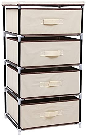 SONGMICS 4 Drawer Beige DIY Storage Wardrobe Cabinet Multiple- Purpose Storage Unit 84.5 cm RLG14M
