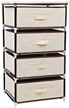 SONGMICS 4-Drawer Storage Organiser, Multipurpose Shelf, Wardrobe, Cabinet for Cloakroom, 45 x 38 x 84.5 cm, Beige RLG14M