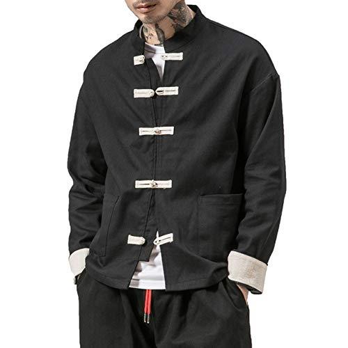 Loeay Giacca da Uomo Stile Kimono Cinese Primavera Autunno Cotone Lino Cappotto Casual Giacca Tinta Unita Kongfu Cardigan Maschile Capispalla Nero XXXL