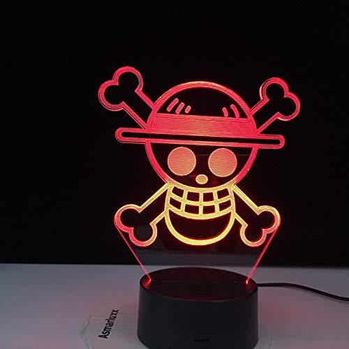 KangYD Luz nocturna 3D ONE PIECE Skull Head, Lámpara de ilusión óptica LED, E - Base para despertador (7 colores), Regalo para niño, Lámpara cálida, Regalo para niño