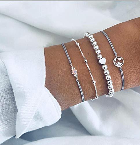 Yienate Bohemia Love Perlen-Armband mit Strass-Karte, Opal-Perlenkette, Silber-Armband-Set für Damen und Mädchen (4 Stück)