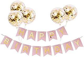 Tellpet Pink HAPPY BIRTHDAY Banner with 5 pcs Gold Confetti Balloons