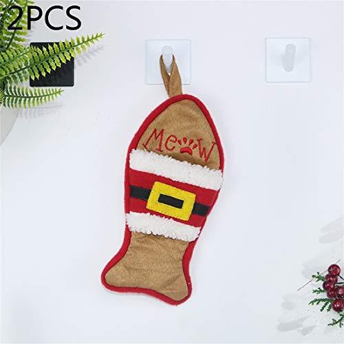 HMG 2 PCS CX20223 multifunción Fish Forma de Bolsa del calcetín Cuchillo Tenedor Decoración Colgante del árbol de Navidad de la Manga (Blanca) (Color : Brown)