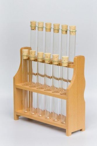 Reagenzglasgestell mit 12x Reagenzgläser 180x18 + 12 Korken SCHWEFELFADEN Reagenzgläser von Laborglasshop
