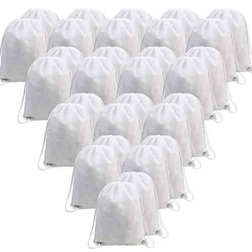 BeeGreen White 30 Pack Bulk Drawstring Bags for Gym Sport Storage 13.5 x 16-Inch Large Drawstring Backpacks Gym Sack Sports Sackpack Men Women Teens