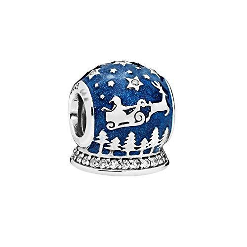 LISHOU Mujer Pandora Bead S925 Plata De Ley Clásico Azul Océano Corazón Copo De Nieve Ojo De Gato Atrapasueños Colgante con Cuentas DIY Fabricación De Joyas Z2