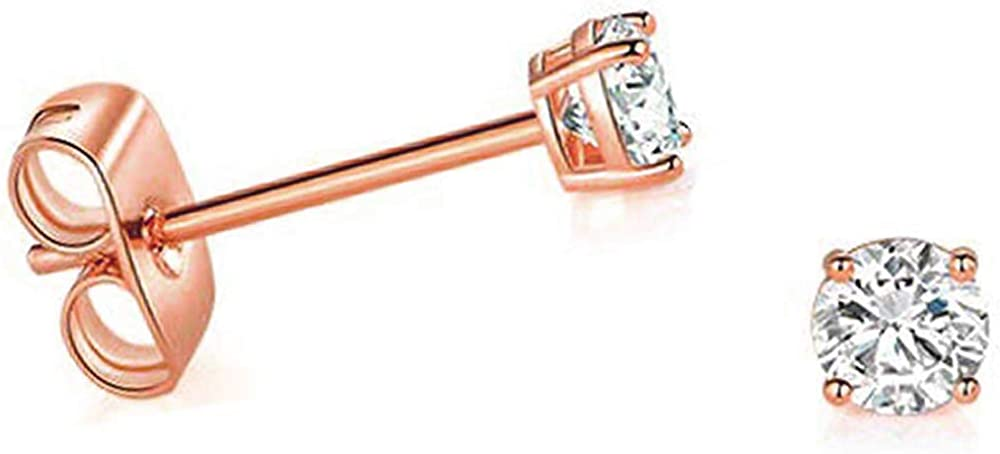 Solid 14k Rose Gold Solitaire Round Cubic Zirconia CZ Stud Earrings with 14k Gold Butterfly Push Backings