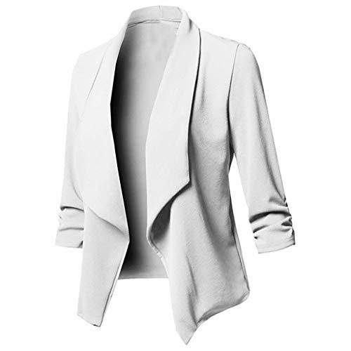 LOPILY Basic Boleros Große Größen Damen Dünne Umhangjacke Rüschen Blazer Elegante Herbstjacke Damen Übergangsjacke Cardigan 48 Weiches Pullover Damen Casual Lässgies Outwear Sweatshirts (Weiß, 40)