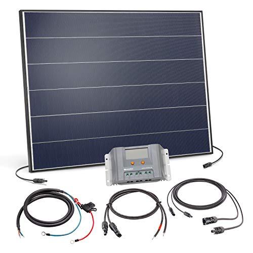 Solar Set 150 Watt Solarmodul mit 30A Laderegler - inkl. 5m MC4 Solarmodulleitung und Akkuleitung mit Sicherung - Solar Bausatz Inselanlage autarke Stromversorgung Camping Wohnmobil, esotec 120056